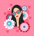 happy valentines day with girl in heart glasses vector image vector image
