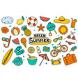 hello summer collection set design on white vector image