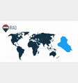 iraq location on the world map for infographics vector image vector image