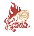 kebab handwritten lettering logo label badge vector image vector image