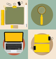 Laptop and Cute note papers ready for your message vector image vector image