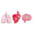 line art style drawing stickers design lungs vector image vector image