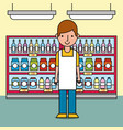 male worker standing near of shelves with bottles vector image vector image