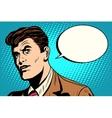 man asks retro comic bubble vector image
