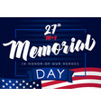 memorial day 27 may navy blue banner vector image vector image