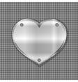 metal heart label on steel background vector image