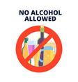 no alcohol sign alcoholic beverages beer in red vector image