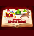 paper cut of santa on sleigh on the book vector image vector image