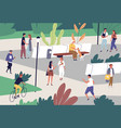 people spend time at public place with baby vector image vector image
