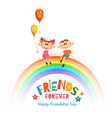poster with friendship day title and children on vector image vector image