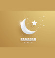 ramadan kareem greeting card paper art gold vector image