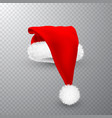 realistic red santa claus hat isolated on gray vector image