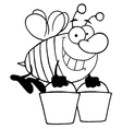 Royalty Free RF Clipart Happy Honey Bee Flying vector image vector image