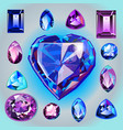 sapphires of different shapes and cut vector image vector image