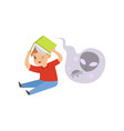 scared little boy reading a horror book reading vector image vector image