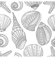 Seamless black and white pattern of seashells to vector image vector image