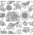 seamless pattern with summer doodles vector image