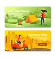 set banners camping girl man on bike vector image vector image