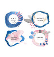 set creative frames with watercolor strokes and vector image vector image