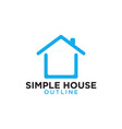 simple line art blue house logo design template vector image vector image