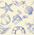 summer seaside holidays and beach seamless pattern vector image vector image