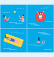 swimming pool and people set vector image vector image