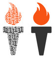 torch fire composition of binary digits vector image vector image