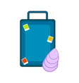 travel suitcase with a seashell vector image vector image