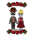 two skeletons with flowers vector image vector image