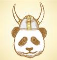 Viking Helmet Panda vector image vector image