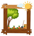 wooden frame template with carrot garden vector image vector image