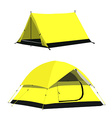 Yellow camping tents vector image vector image