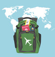backpack with passport air ticket and credit card vector image
