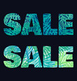 patterned sale lettering with two type of leaves vector image