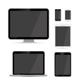 Display laptop tablets and phones mockups vector image