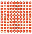 100 leaf icons hexagon orange vector image vector image