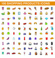 100 shopping products icons set cartoon style