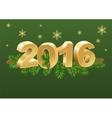 2016 gold number and spruce branches vector image vector image