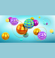 abstract background with 3d spheres and gold rings vector image