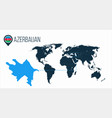 azerbaijan location on the world map for vector image vector image