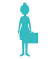 beautiful girl with suitcase vector image vector image