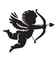 black silhouette cupid aiming a bow and arrow vector image