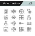 blockchain icons modern line design set 36 vector image vector image