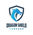 blue dragon shield logo design vector image vector image