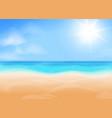 Blue sky bright sun ocean and beach