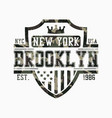 brooklyn shield design for camouflage t-shirt vector image vector image