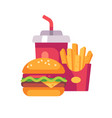burger potato fries and soda drink cup fast food vector image