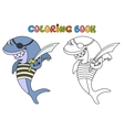 Cartoon pirate shark vector image vector image