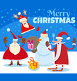 christmas design with cartoon santa claus vector image vector image