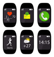 collection smart watch with icons on the display vector image vector image